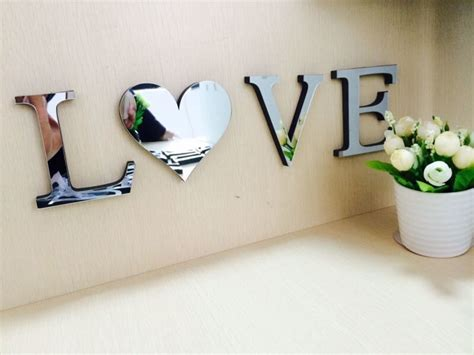 mirrored letters wall decor letters decoration mirror name plaques word