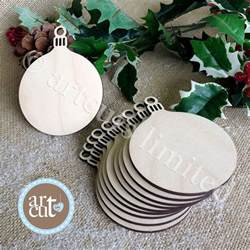 wooden round christmas bauble birch blank decorations gift