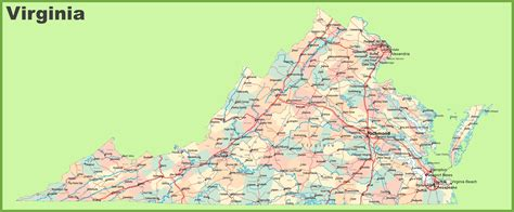 virginia on a map of the usa road map of virginia with cities