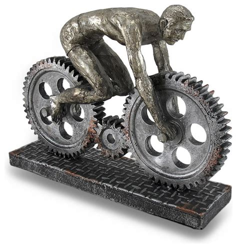 mechanical decor industrial mechanical gear bicycle rider statue metallic