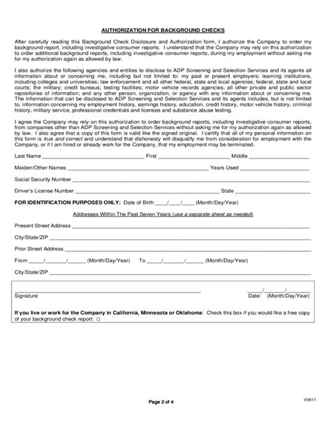 background check disclosure and authorization form free
