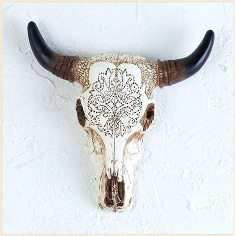 cow skull western tooled bull cow skull sculpture for wall or table