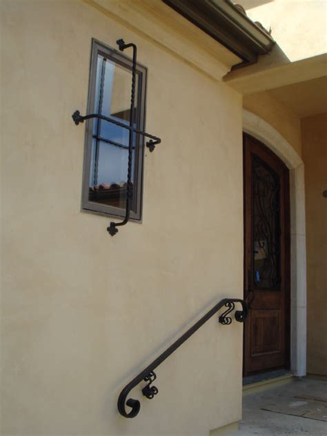 Exterior Wall Mounted Handrail Exterior Handrail And Window Grille Traditional San
