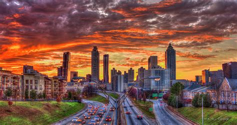 Wall Murals Cityscapes majestic rush hour atlanta downtown sunset art photograph