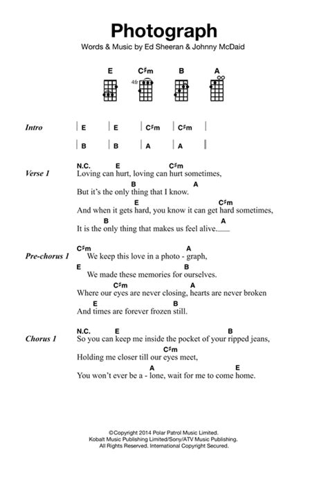 Ukulele Tutorial Ed Sheeran | photograph sheet music by ed sheeran ukulele 121865