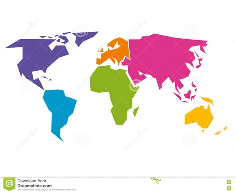 world map simple vector simplified world map divided to six continents in