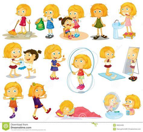 varias imagenes que formen una sola dagelijkse activiteiten van jonge blondie vector