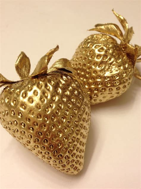 aesthetic cyber food fruit gold metallic strawberries gold theme image 2703097 by