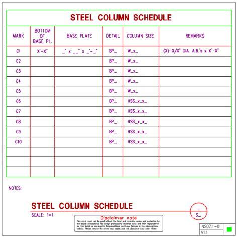 ns07 1 steel column schedules axiomcpl central