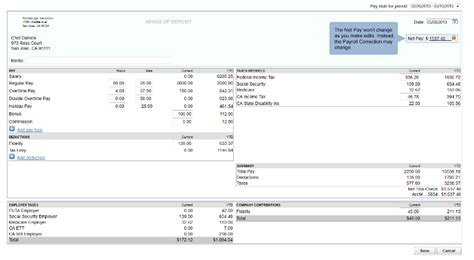 Edit Paychecks In Online Payroll Intuit Pay Stub Template