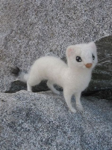 Jo In Pets Needle Brush needle felted animal ermine or weasel by ainigmati on etsy