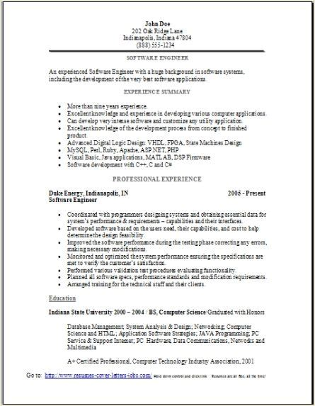 resume exles software software engineer resume sle occupational exles sles free edit with word
