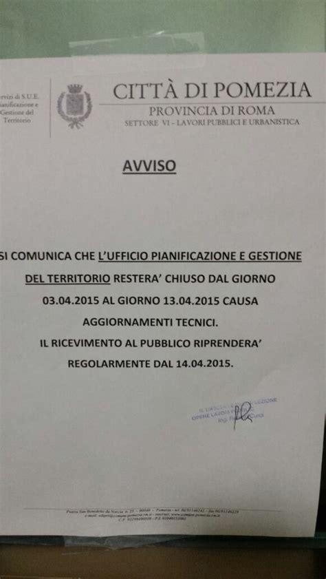 ufficio urbanistica roma pomezia uffici settore urbanistica chiusi per