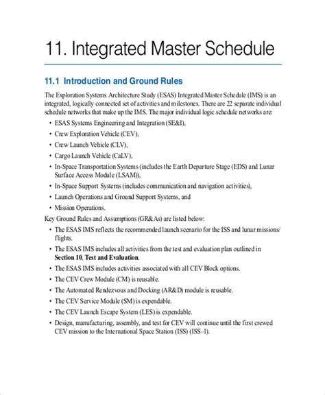 master schedule templates   samples examples