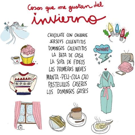 cosas que me gustan cosas que me gustan del invierno things i like about winter illustration on chispum