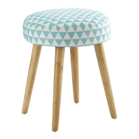 pin up wooden stool with triangle pattern blue cotton