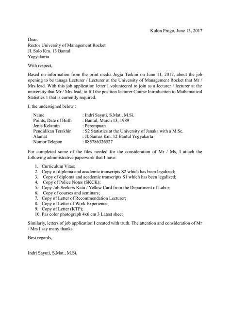Download Contoh Surat Lamaran Kerja Bahasa Inggris dan