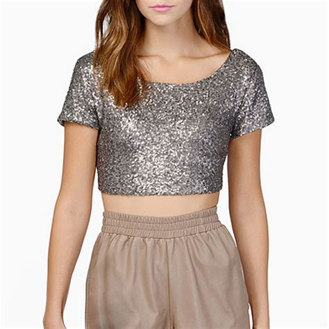 Blouse Squin Top new sequins crop tops summer t shirts sleeve shirt tops blouses ebay