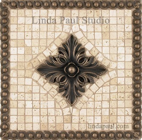 Kitchen Mural Backsplash Tribeca Metal And Stone Backsplash Mosaic Tile Medallion