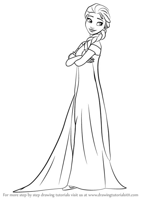 Step by Step How to Draw Elsa from Frozen Fever