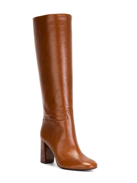 brown knee high boots lyst burch heeled leather knee high boots in brown
