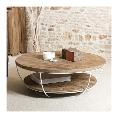 Table Basse Ronde by Table Basse Ronde Bois Et M 233 Tal Blanc 100cm Tinesixe