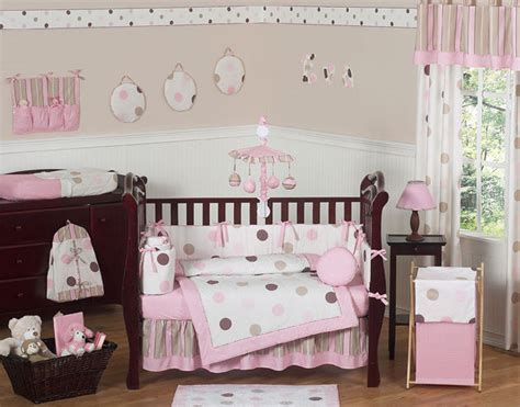 Modern Crib Bedding Set Modern Pink And Brown Polka Dot 9pc Baby Crib Bedding Set Room Collection Ebay
