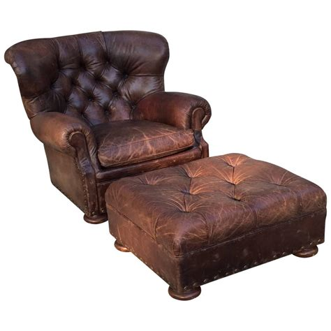 oversized leather chair and ottoman handsome large ralph lauren button tufted club chair and