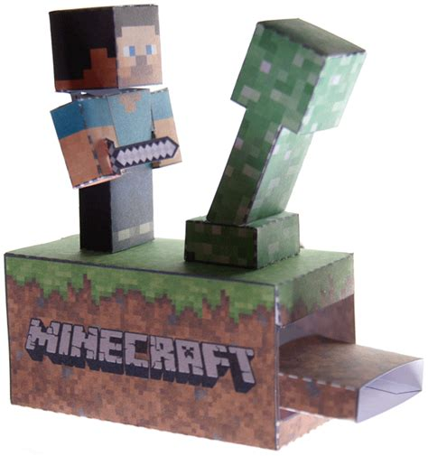 Moving Papercraft - minecraft machine steve vs creeper moving paper model