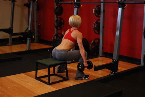 dumbbell exercises with bench dumbbell squat to a bench exercise guide and video