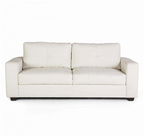 White Loveseat White Bonded Leather Match Modern Sofa Loveseat Set W