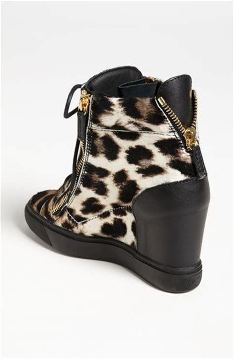 leopard wedge sneakers giuseppe zanotti wedge sneaker in black leopard lyst