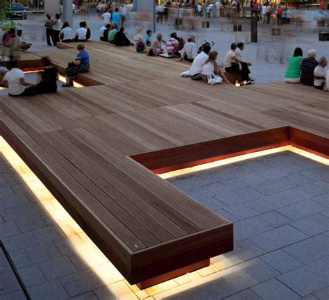 bench idaho id metalco modular seating benches with led lighting within an urban plaza