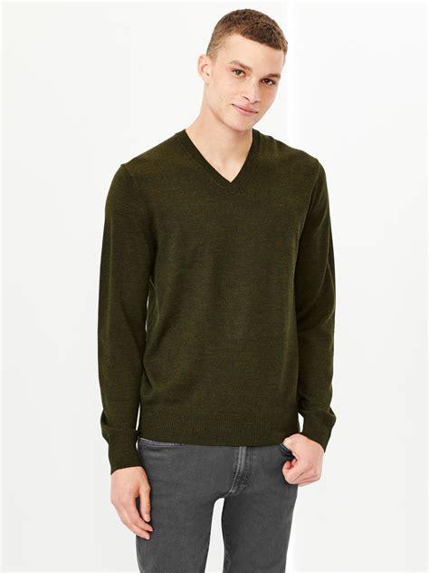 Sweater Gap Gap Merino V Neck Sweater In Green For Olive