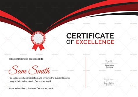 Bowling Certificate Template by Bowling Award Certificate Design Template In Psd Word