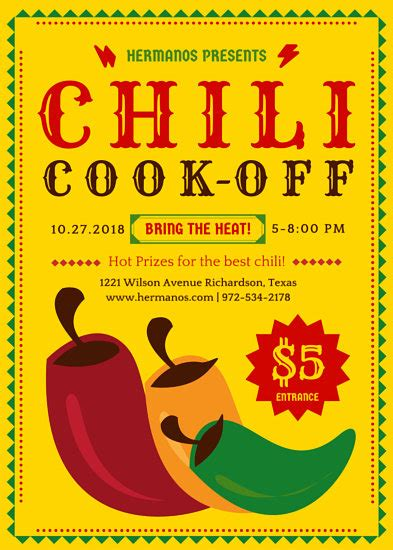 chili cook flyer template restaurant flyer templates canva