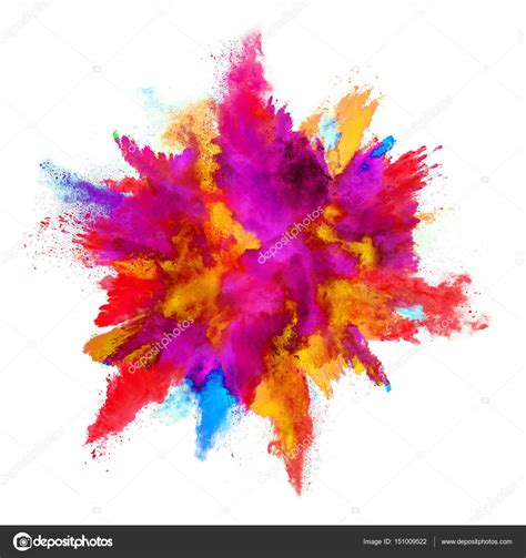 explosion of colors explosion of colored powder on white background stock