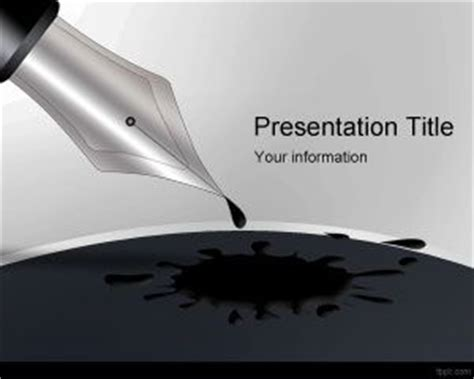 Free Blue Ink Powerpoint Template black ink pen powerpoint template