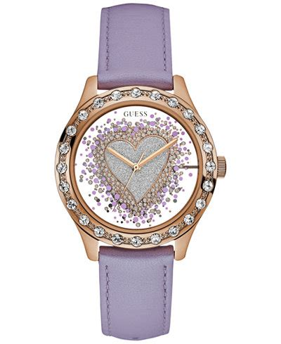 Guess Ac Lether Purple guess s purple leather 38mm u0909l3 watches jewelry watches macy s