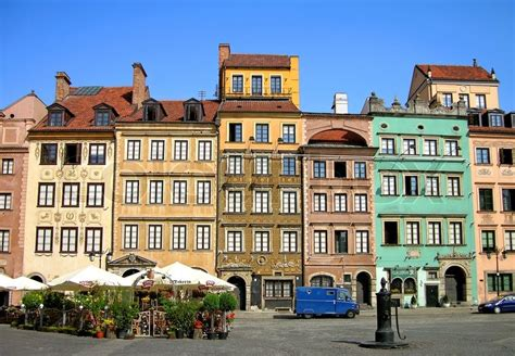 Historical House Plans by Colourful Buildings In The Center Of Warsaw City Poland