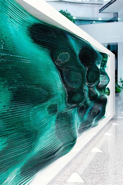 reception desk   stacking layers  glass
