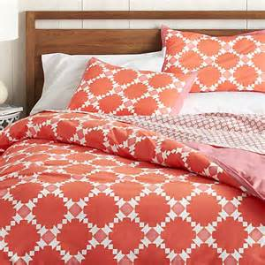 Duvet Cover Coral Genevieve Coral Twin Duvet Cover Crate And Barrel