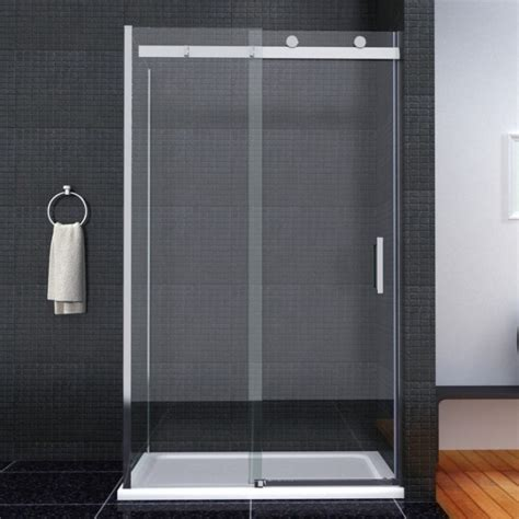 Ultimate Shower Doors Aquaspa Ultimate Frameless 1000mm Sliding Shower Door Top Wheels Shower Enclosures Direct