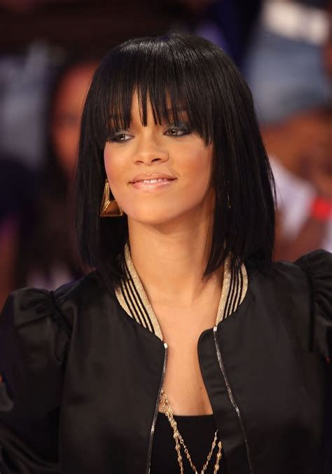 more pics of rihanna medium straight cut with bangs 18 of