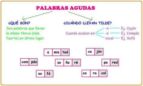 imagenes palabras agudas ejemplos de palabras agudas palabras con tilde juegos de