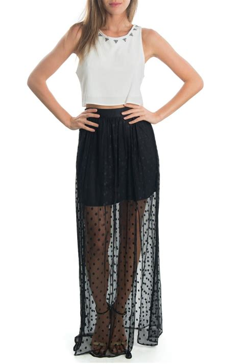 arloh sheer maxi skirt from by the cotton