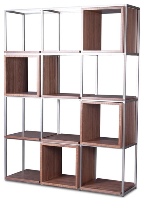 grid ii walnut shelf set modern display and wall shelves