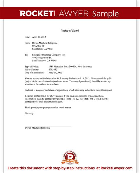 Notice of death to an insurance company letter template with sample