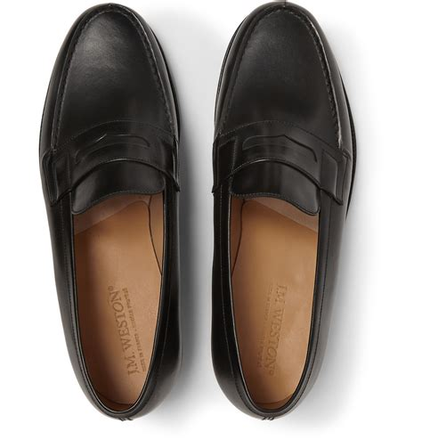 mocassin loafers j m weston 180 the moccasin leather loafers in black for