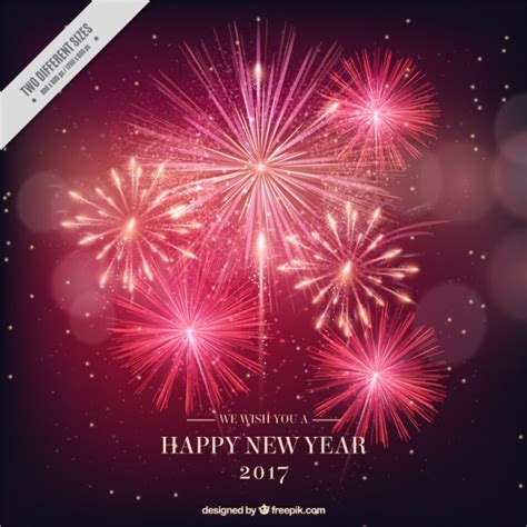new year 2017 bright fireworks background vector free